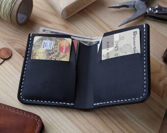 Mens Wallet, Men's Leather Wallet, Minimalist Leather Wallet, Horween Wallet, Black\Black