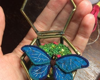 Turquoise Stumpwork Butterfly