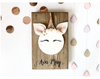 Unicorn Nursery Decor - Unicorn Gift For Girl - Girls Unicorn Bedroom - New Baby Gift - Personalised Nursery Decor - Christmas Gift Girl
