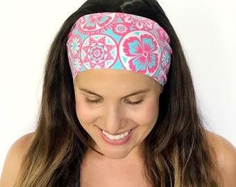 Yoga Headband - Workout Headband - Fitness Headband - Running Headband - Eternity Print - Boho Wide Headband