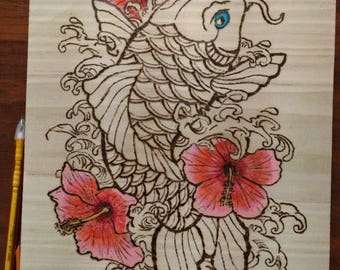 "Pyrography Woodburning, Koi with Flowers 11""x8.5"""