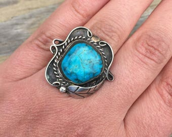 Turquoise Native American Handmade Dead Pawn Old Pawn Sterling Silver Handmade Gemstone Vintage Ring
