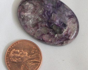 50%off 37cts Amazing Quality Natural Charoite Cabochon Semi Precious Loose Gemstone (33x23x9)mm approx. 0028