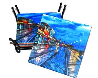 Asbury Park Boardwalk Coaster / Jersey Shore Ceramic Tile Drink Coaster(s) / Asbury Park NJ Coasters