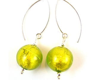 Green Venetian Murano Glass Sterling Silver Earrings