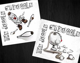 "The Juggle Struggle - 4"" Vinyl Sticker - Madtech Manipulations Line"