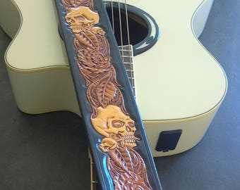 Carved Leather Guitar Strap, Hand Tooled, Can be Personalized with Your Initials, Skull and Roses, For Acoustic or Electric