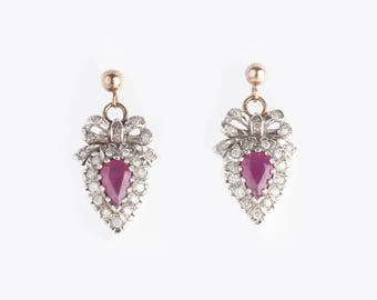 A Pair Of 9k Gold Ruby and Diamond Earrings