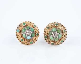 A pair of 9k Gold, Diamond and Turquoise Etruscan Revival Earrings