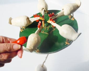 Chicken Toy / Primative Handmade Picking Chickens / Delightful Action when ball is swung in a circle / Golfball Powered