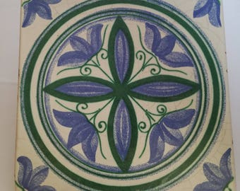 Vintage tiled- tile blue green-old tile-tile ceramic-shabby schic