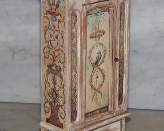 Armoire for 1:12th  Dollhouse.  Painted and Decoupaged.  Wardrobe.
