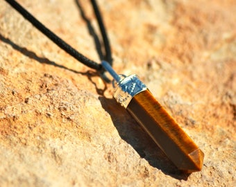 Tiger Eye - Pencil - Necklace - Jewellery - Healing - Stone