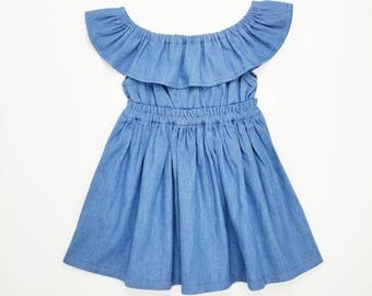 Women's (XS-XXXL) Denim Off The Shoulder Ruffle Dress. Blue. Mommy and Me Dress. Daughter. Spring Summer