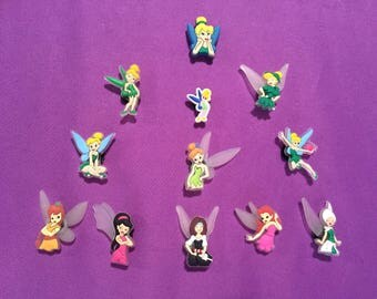 12-pc Disney Fairies / Tinkerbell Shoe Charms for Crocs, Silicone Bracelet Charms, Party Favors, Jibbitz