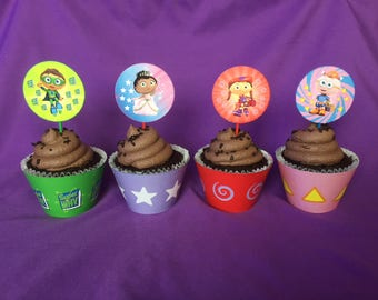 Printable Super Why Cupcake Wrappers / Cupcake Toppers, INSTANT DOWNLOAD