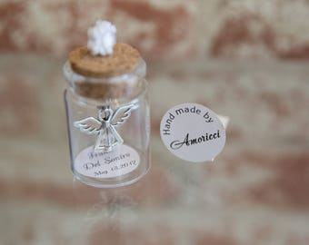 SET 20 Baptism Favor, Christening Favor, First Communion, Angel pendant, bottle, Bautizo Recuerdos de bautizo, Primera comunion
