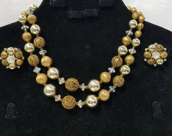 Vintage Lisner gold beaded double strand necklace and clip-on earrings set