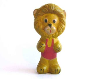 Lion, Rare rubber vintage toy, Old Russian Toy, Soviet doll, Figurine, Animal, Nursery Decor, Made in USSR, 1960s