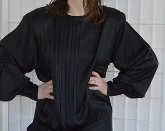 Vintage Black Pleated Silk Side tie Blouse, Size 12