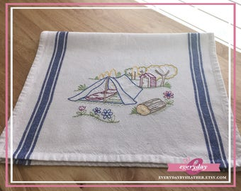Roughin It Tent Camping Tea Towel | Embroidered Tea Towel | Kitchen Towel | Embroidered Towel | Hand Towel | Dish Towel
