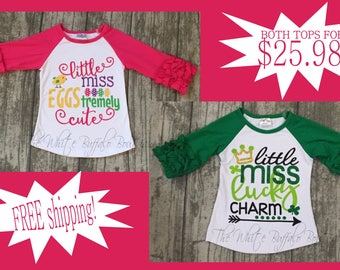 Easter and St Patricks Day ruffle sleeve shirt bundle. FREE SHIPPING!!