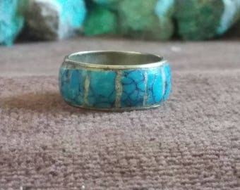 Vintage Turquoise Tiled Ring Band 9.5 mm -- Size 10