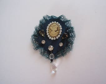 Application brooch pattern cameo background teal pearls, rhinestones and lace