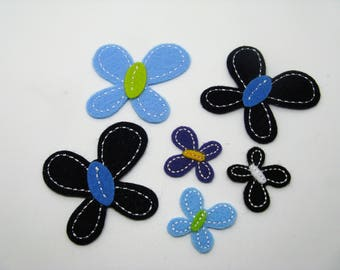 Set of 6 badges applications fusing Butterfly felt Navy Blue, sky blue and purple - ref 6F