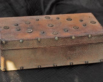 Antique Old English Colonial Shagreen Stud Box 1800's