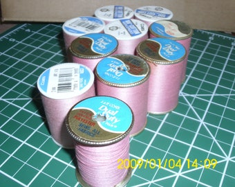 10 Spools Pink and Dusty Rose Thread / Coats 318A / J & P Coats 158 / New Sewing Thread / Sewing Thread