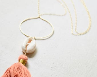 Tassel Necklace, Cowrie Shell Necklace, Gold Hoop Necklace, Long Layering Necklace, Tassel Shell Necklace