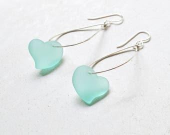 Sea Glass Heart Earrings,Sea Glass Earrings, Heart Shaped Sea Glass Earrings, Sterling Teardrop Earrings