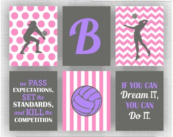 INSTANT DOWNLOAD White Purple Pink Gray Volleyball Girl Wall Art Set Of 6,  8x10,