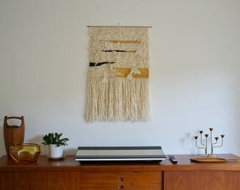 Hand woven wall hanging weaving  - 'Cirro' fibre art / textile art / fiber art / tapestry / wall art / large