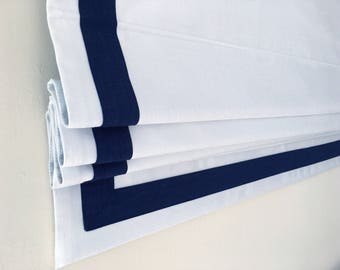 """Flat Roman Shade """"Cheval White with Navy Border"""", linen roman shade with chain mechanism, custom made"""