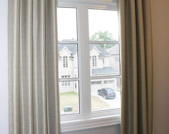 "Custom Linen Drapes ""Cheval"", Grommet Panel, Beige Tones, Solid coloured drapes, Drapery Panels"