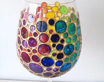 Rainbow Wine Glass Multi Colored Bubbles Hand Painted wine glass