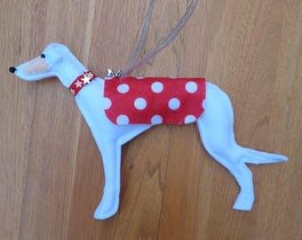 Hand made white and cream felt Greyhound, Whippet, Lurcher type dog hanging decoration
