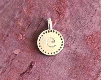 Sterling Silver E Name Initial Pendant Charm 2g