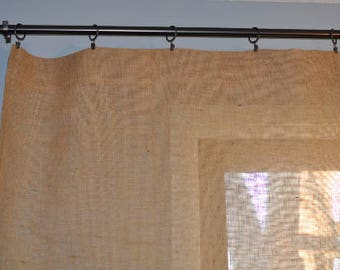 """Burlap Curtain Panel with Reinforced Top for Ring Clips - 44"""" Wide"""