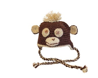 Monkey hat, child hat, animal hat, Halloween hat, winter hat, crochet hat, crochet monkey,
