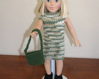 "AG green dress, shoes, hat, purse, AG doll clothes, 18"" doll clothes, beret hat, 18"" doll dress, 18 inch doll dress, AG shoes, doll purse"