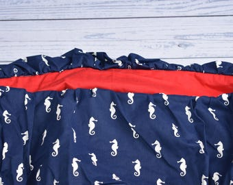 Seahorse child cart cover, gender neutral, baby shower gift, american pride, nautical