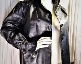 Stylish Vtg 1980's Alvear for Arbitro Made in Spain Black Leather Ladies Jacket sz M/L
