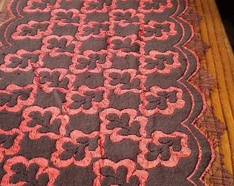 vintage cotton and polyester orange and dark brown lace pattern chocolate oak leaves