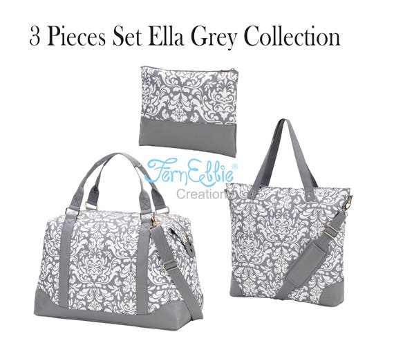 3 Pieces Set Monogrammed Ella Grey Weekender,  Shoulder Bag, Cosmetic Bag-Zip Pouch, Travel Bags Set, Polyester With Vegan Leather Trim