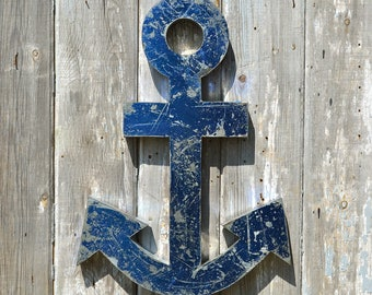 Large blue vintage style distressed metal anchor wall sign nautical beach art boat beach hut seaside