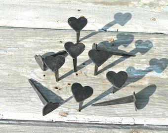 Set of 10 hand made wrought iron small Shaker heart nails coat peg barn hangers