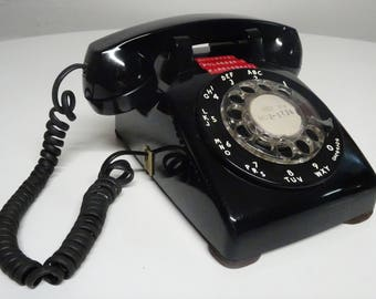Vintage 1980's Western Electric Bell System Black Rotary Desk Top Telephone - FREE SHIPPING